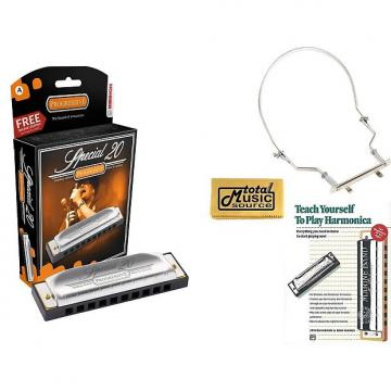 Custom HOHNER Special 20 Harmonica, Key of A, Made in Germany, Includes Case, Book, & Harmonica Holder, 560BL-A COMP