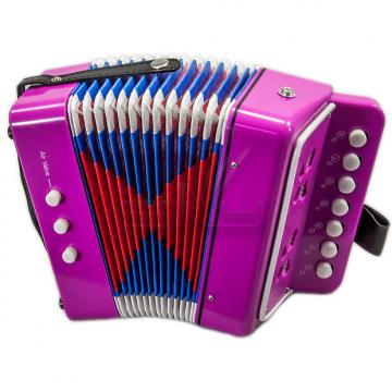 Custom SKY Accordion Hot Pink Color 7 Button 2 Bass Kid Music Instrument High Quality Easy to Play