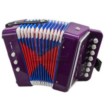 Custom SKY Accordion Purple Color 7 Button 2 Bass Kid Music Instrument High Quality Easy to Play