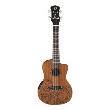 Custom Luna Tec Mah Concert Series Acoustic-Electric Ukulele, Tattoo Design