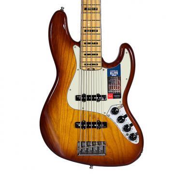 Custom Fender American Elite Jazz V Bass Tobacco Sunburst w/Case