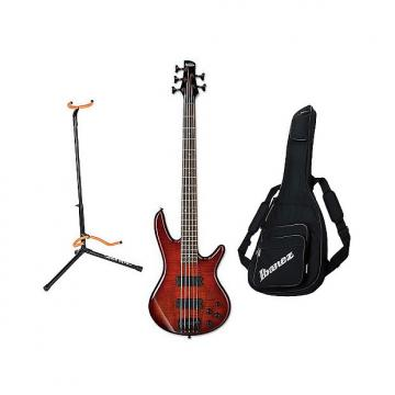 Custom Ibanez GSR205SMCNB 5-String Electric Bass - Charcoal Brown with Bag & Stand
