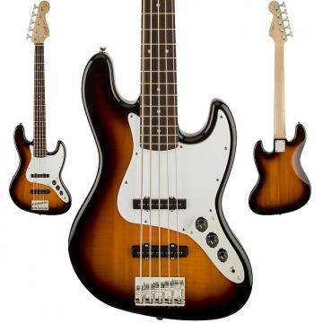 Custom Squier Affinity Series 5 String Jazz Bass Guitar V  In Brown Sunburst Finish Rosewood Fretboard NEW!