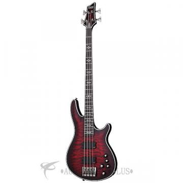 Custom Schecter Hellraiser Extreme-4 Ebony Fretboard Electric Bass Crimson Red Burst Satin - 1910