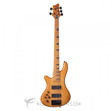 Custom Schecter Stiletto-5 Session Left Handed Maple Fretboard Electric Bass Aged Natural Satin - 2855