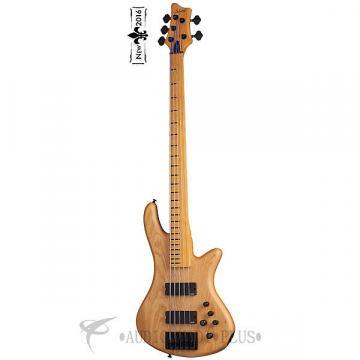 Custom Schecter Stiletto Session-5 FL Maple FB Electric Bass Aged Natural Satin - 2846 - 815447021194