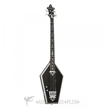 Custom Schecter Sean Yseult Casket Left Hand Ebony Fretboard Electric Bass Gloss Black - 219 - 81544705101