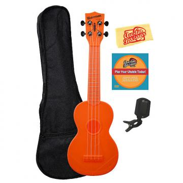 Custom Kala KA-SWF-OR Waterman Soprano Ukulele - Fluorescent Orange Gloss w/ Gig Bag