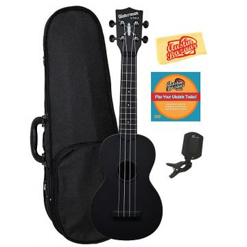 Custom Kala KA-SWB-BK Waterman Soprano Ukulele - Black Matte w/ Hard Case