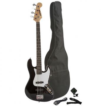 Custom Fever 4-String Electric Jazz Bass Style with Gig Bag, Clip on Tuner, Cable and Strap, Color Black