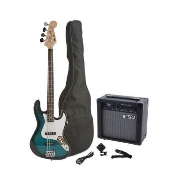 Custom Fever 4-String Electric Jazz Bass Style with 20-Watts Amplifier, Gig Bag, Clip on Tuner, Cable and Strap, Color Blue