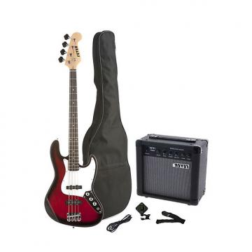Custom Fever 4-String Electric Jazz Bass Style with 20-Watts Amplifier, Gig Bag, Clip on Tuner, Cable and Strap, Color Red