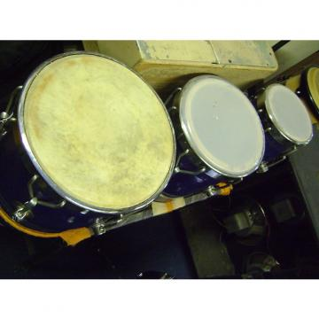 Custom Bina 3 wood hand drums 1980s Blue finish