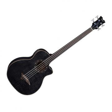 Custom Dean EQABA FL TBK Exotica Quilt Ash Acoustic/Electric Bass Guitar Fretless Trans Black