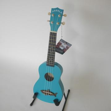 Custom Makala Shark Bridge Soprano Ukulele 2016 Aqua Blue