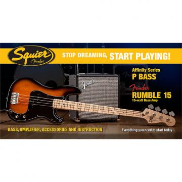 Custom 2016 Squier Affinity Series Precision Bass Pack with Fender Rumble 15 Amplifier - Sunburst