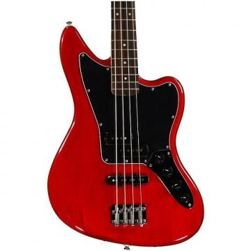 Custom Squier Vintage Modified Jaguar Bass Special - Crimson Red Transparent