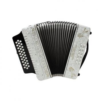 Custom Rizatti Bronco RB31FW Diatonic Accordion - White - Key F/Bb/Eb with Padded Bag