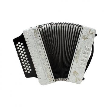 Custom Rizatti Bronco RB31GW Diatonic Accordion - White - Key G/C/F with Padded Bag