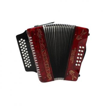 Custom Rizatti Bronco RB31GR Diatonic Accordion - Red - Key G/C/F w/ Padded Bag