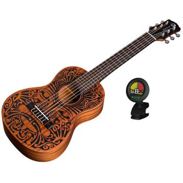 Custom Luna Uke Tribal 6-String Mahogany Ukulele Bundle