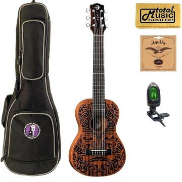 Custom Luna UKE TRIBAL 6 Ukulele, 6 String, Natural Bundle, UKE TRIBAL 6 COMP