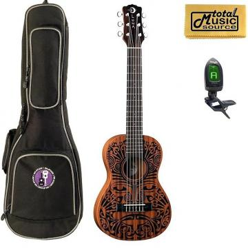Custom Luna UKE TRIBAL 6 Ukulele, 6 String, Natural Bag & TunerBundle, UKE TRIBAL 6 PACK
