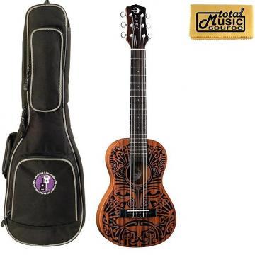 Custom Luna UKE TRIBAL 6 Ukulele, 6 String, Natural Bag Bundle, UKE TRIBAL 6 BAG
