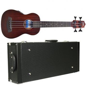 Custom Kala UBASS Rumbler Fretless Acoustic Ukulele Uke Bass w/ Diamond Black Hard Case