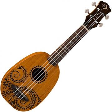 Custom Luna UKE TATTOO Soprano Pineapple Ukulele & Gig Bag