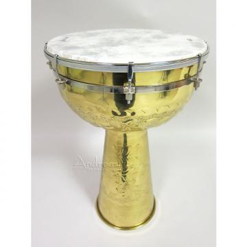 "Custom Mid-East Manufacturing Brass Doumbek Drum w/ 12"" Remo Fiberskyn Head"