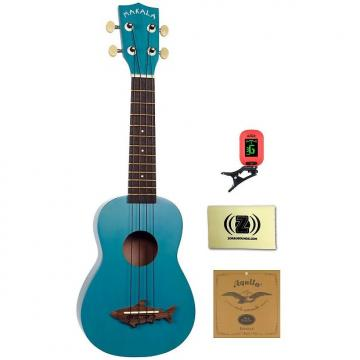 Custom Kala Makala Shark Series Soprano Ukulele (Mako Blue) Bundle with Clip-On Tuner, Strings and Cloth