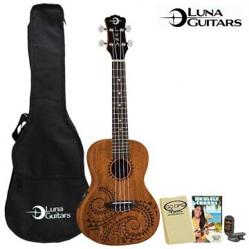 Custom Luna Guitars Tattoo Concert Electric Ukulele w Preamp, Uke Gig Bag Tuner, Lesson