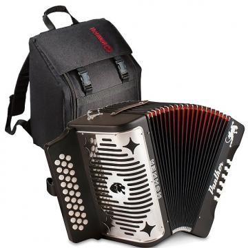 Custom Hohner Panther G, C, F Key Combination Diatonic Accordion (Black) BUNDLE with Gig Bag