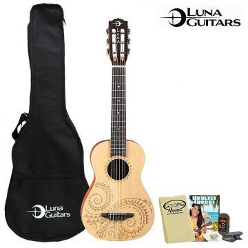 Custom Luna Guitars 6 String Maple Burl Tattoo Concert Ukulele w Gig Bag, Tuner, Lesson