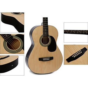"IMusic 39"" Inch Gloss Natural Acoustic Guitar Starter Kit Beginner Package"