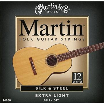 Martin martin guitar strings M200 martin acoustic guitar Silk guitar strings martin & acoustic guitar strings martin Steel martin acoustic guitar strings 12-String Folk Guitar Strings, Extra Light