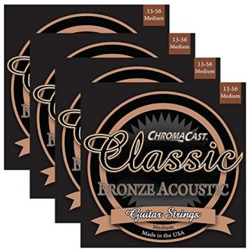 ChromaCast martin acoustic guitars CC-GS-CB-M-4PACK martin acoustic strings Classic martin guitar strings acoustic Bronze acoustic guitar strings martin Medium martin acoustic guitar Acoustic Guitar Strings, .013-.056, 4-Pack