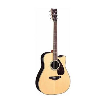 Yamaha FGX730SC Solid Top Acoustic-Electric Guitar (Rosewood, Natural) with Knox Fiberglass Acoustic Guitar Case