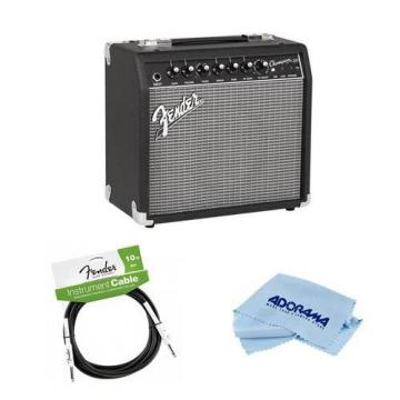 """Fender Champion 20 Guitar Amplifier with 8"""" Speaker - Bundle With Fender Performance Series 10' Instrument Cable, Microfiber Cleaning Cloth"""