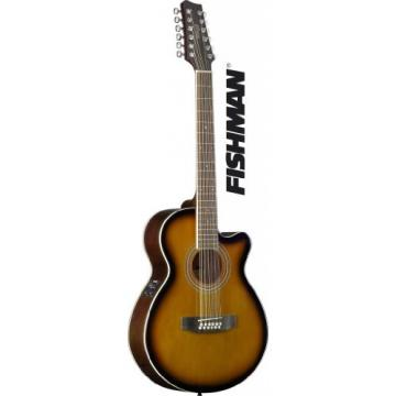 Stagg SA40MJCFI/12-BS Mini Jumbo Cutaway 12-String Acoustic-Electric Guitar with FISHMAN Preamp Electronics - Brown Sunburst