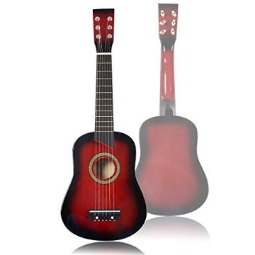 "25"" Beginners Kids Acoustic Guitar 6 String with Pick Children Kids Gift (Red)"