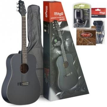 Stagg SA30D-BK Dreadnought Acoustic Guitar with Accessory Package - Matte Black