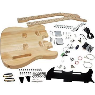 Solo Tele Style Double Neck DIY Guitar Kit, Basswood Body, Maple FB, DTCK-1