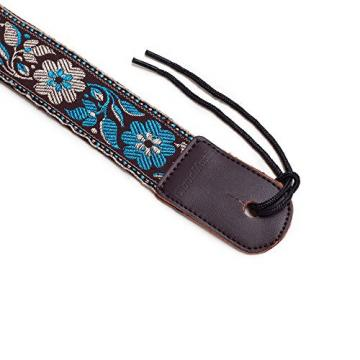 CLOUDMUSIC dreadnought acoustic guitar Colorful martin guitar strings acoustic medium Hawaiian martin guitar accessories Style martin guitar strings acoustic Cotton martin acoustic guitars Ukulele Strap Blue White Flower (Brown)