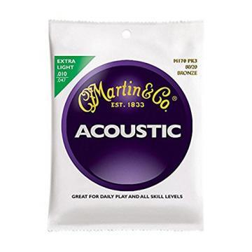 Martin acoustic guitar strings martin M170 martin guitar case 80/20 martin acoustic strings Acoustic martin guitars Guitar martin guitar strings acoustic medium Strings, Extra Light 3 Pack