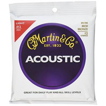Martin martin guitar strings M190 martin guitar accessories 80/20 martin Bronze martin guitar case 12-String martin guitars acoustic Acoustic Guitar Strings, Light