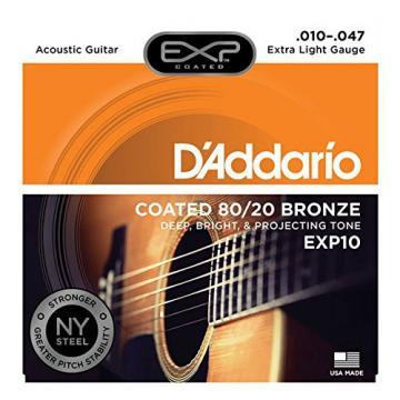 D'Addario martin acoustic guitar strings EXP10 martin guitars acoustic with dreadnought acoustic guitar NY guitar martin Steel martin acoustic strings Acoustic Guitar Strings, 80/20, Coated, Extra Light, 10-47