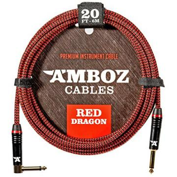 Red Dragon Guitar Cable - Sturdy and Ultra Flexible Instrument Cable For Electric and Bass Guitar Players, Super Noiseless. Used by Amateurs and Pros Alike - Gold Plugs - 20 Feet Straight-Rectangular