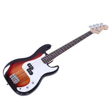 ALightUp Electric P Bass Guitar Starter Kit with Bag and Accessories Pack Beginner Starter Package (Sunset Color)